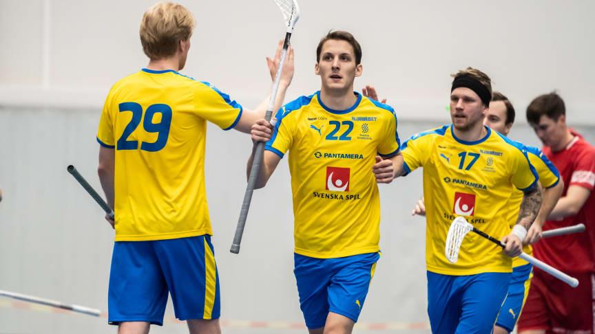 Emil Johansson gjorde flera poäng i matchen. Foto: Anssi Koskinen/Finska Innebandyförbundet
