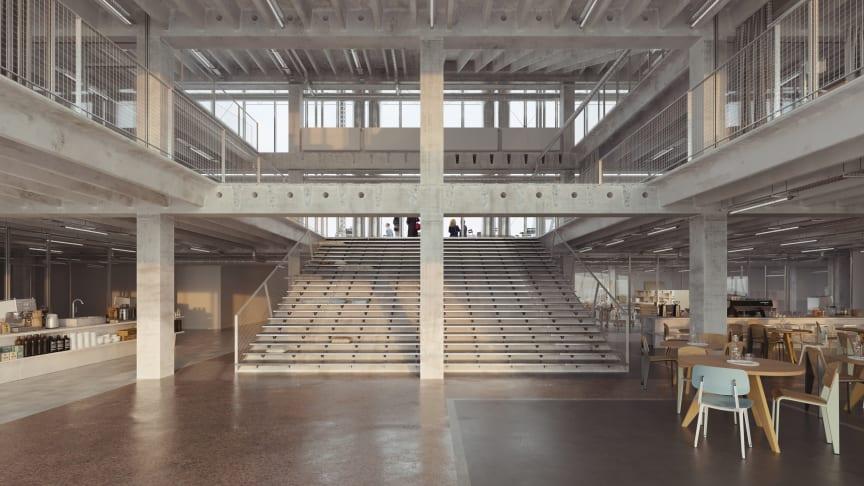Rendering fra Pihlmann Architects, som illustrerer de åbne rum, der skal skabes mellem etagerne på Thoravej 29.