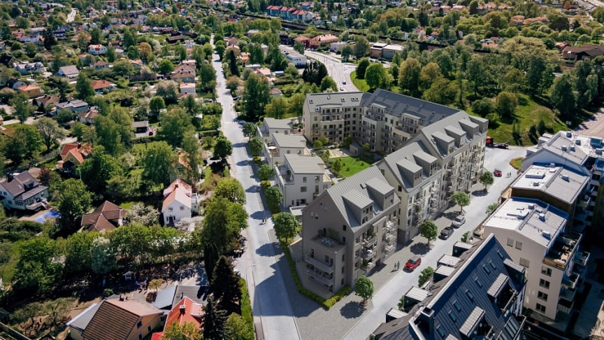 Brf Strandvägen i Sollentuna om 115 lägenheter blir det första projektet som kommer att erbjuda bostäder genom OBOS Deläga. Illustration: OBOS/3D Vision