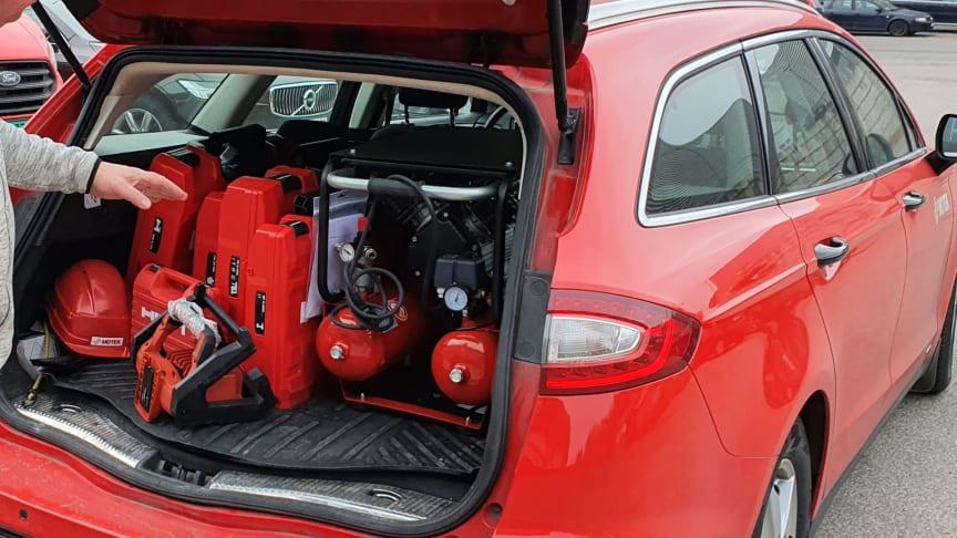 Kompressoren er enkel å transportere.