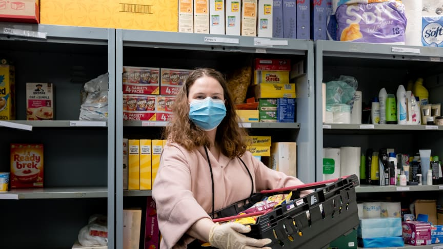 A volunteer at a Trussell Trust food bank