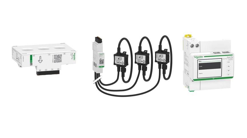 Fra venstre: PowerTag Flex, PowerTag Rope og PowerTag Display trådløse energimålere fra Schneider Electric