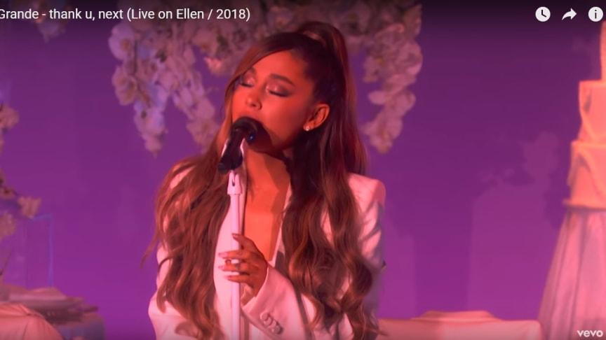 Ariana Grande performing live, YouTube screen grab