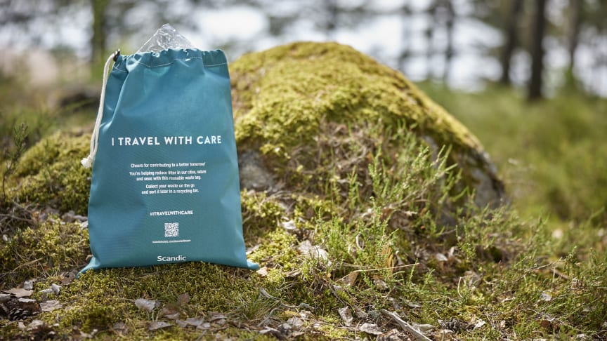 Gjenbrukbare avfallsposer vil være tilgjengelig på Scandics familiehoteller i Norge i sommer. Foto: Scandic Hotels