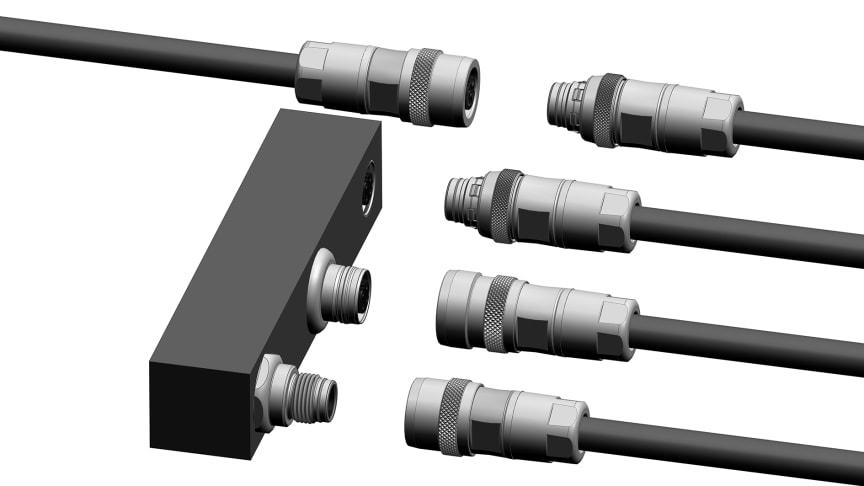 M12 Push-pull, kablage, lösa kontakter och Vägg-genomföringar