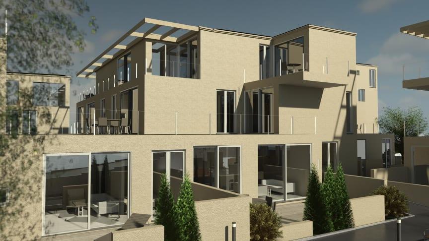 Energieeffizient vom Estrich bis zur Dachspitze: So sollen die 59 Wohneinheiten aussehen, die das Bayernwerk mit einer integrierten Quartierslösung ausstattet.