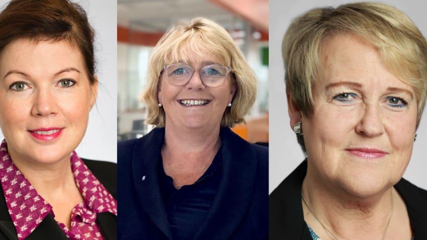 Fr v: Anna Starbrink (L), Irene Svenonius (M) och Désirée Pethrus (KD).
