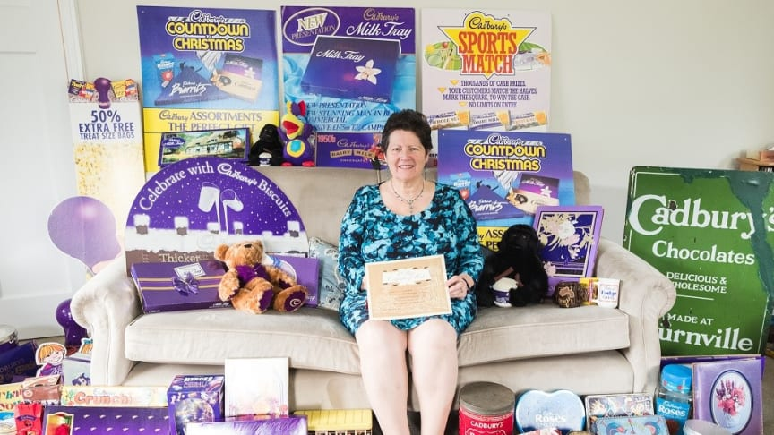 Gill Cocks and her collection of Cadbury memorabilia, some of which dates back to the 1800s