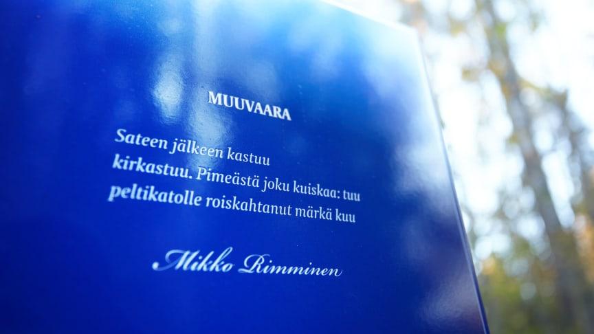 Mikko Rimmisen teksti pylväässä Karakalliossa. Kuva: Vilma Pimenoff.