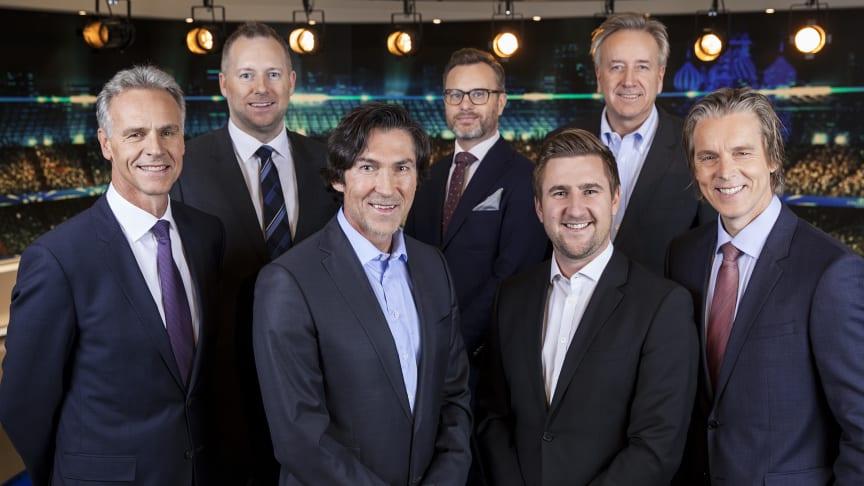 MTG Sports UEFA Champions League team. Fv. Rune Bratseth, Morten Langli, Roar Stokke, Christian Ramberg, Daniel Høglund, Vidar Davidsen, Jan Åge Fjørtoft.