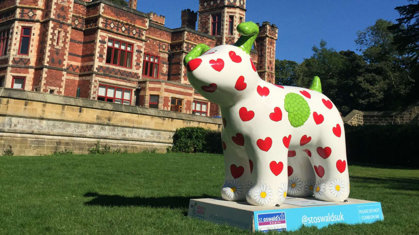 'Snowdog Springtime', designed by Joanna Lumley can be visited at Saltwell Park Towers in Saltwell Park, Gateshead