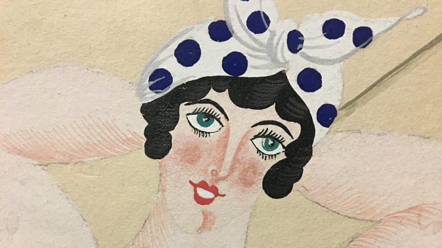 Badflickan från Trouville dansades av Carina Ari i verket Bröllopet på Eiffeltornet 1921. Kostymskiss av Jean Hugo.