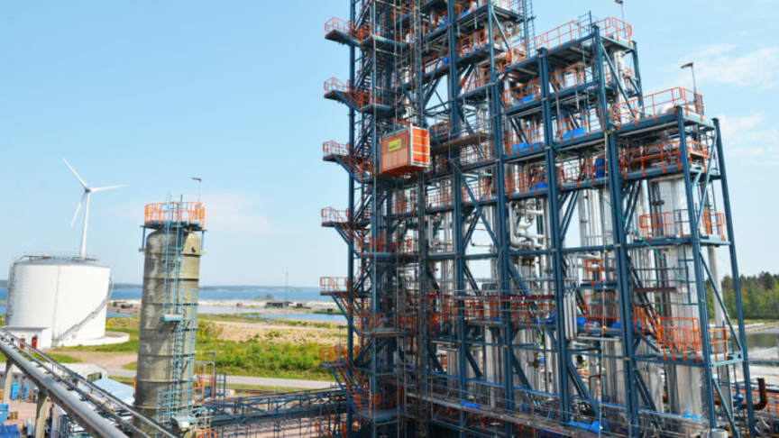 Södra börjar producera biometanol i en ny fabrik i Mönsterås vid årsskiftet. Foto: Södra