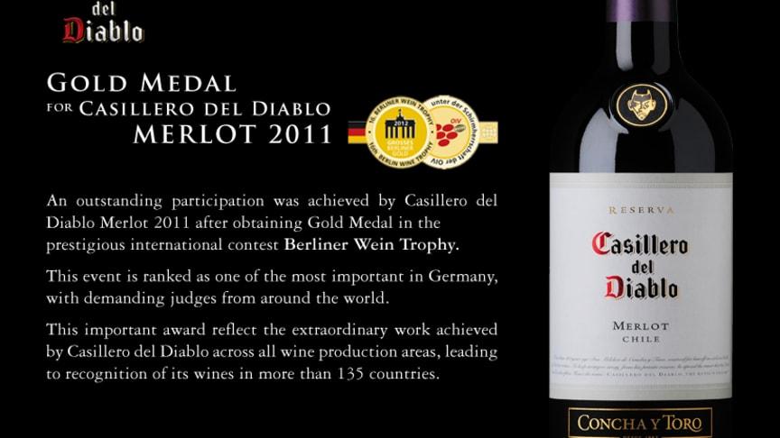 Guldmedalj till Casillero del Diablo Merlot 2011