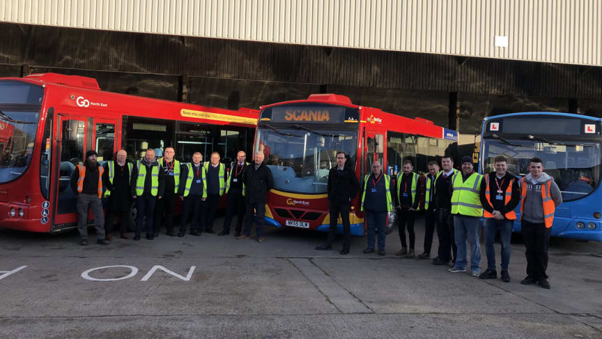 The Go North East team of event volunteers with Mark Oliver (L) and Martin West (R) of Scania GB