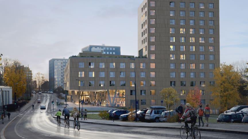 SiO begynner studentboligbygging i Blindernveien 6 høsten 2018 (Illustrasjon: Dyrvik Arkitekter)