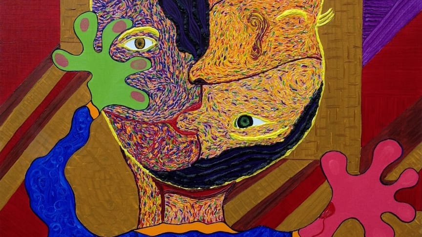 """""""Lost?""""  The title of a spiritual painting depicting the world of Mas.s. A self portrait with a difference."""