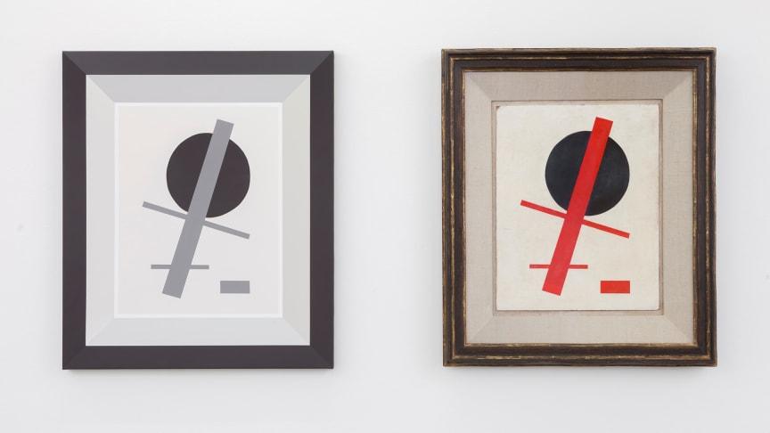 Dag Erik Elgin Originals Grisaille (Malevich), akryl på lerret, 2016 Originals (Malevich), olje på tre, 2011 (Foto: Øystein Thorvaldsen)