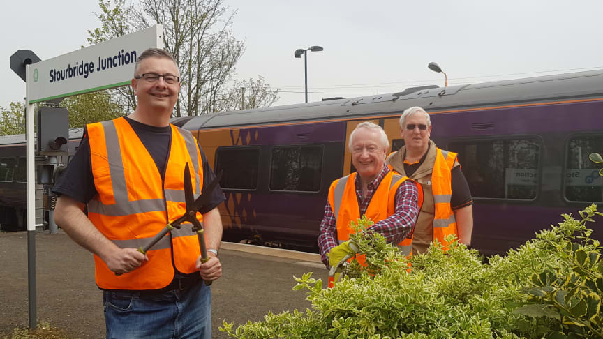 Friends of Stourbridge Stations chairman Phil Tonks (left) with some of the volunteers from the group