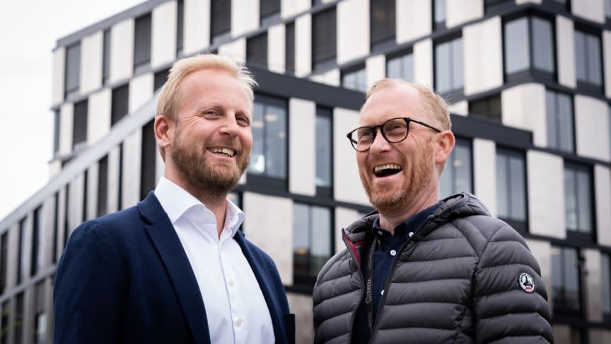 T.v. Ola Gjessing, daglig leder Øst- Formuesforvaltning og Jan Erik Kristiansen, Direktør forretningsområde Moss, Höegh Eiendom.