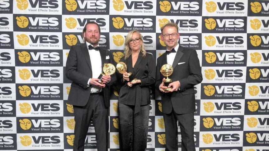 Goodbye Kansas Executive Producers Tom Olsson and Matilda Olsson and UK Managing Director Martin Hobbs at the VES Awards gala in Berverly Hills.