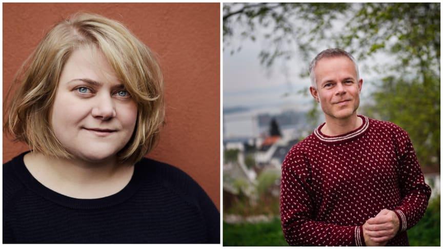 Finalister i NRKs litteraturkåring. Ida Fjeldbraaten (Foto: Anna-Julia Granberg/Blunderbuss) og Tore Renberg  (Foto: © Marie von Krogh)
