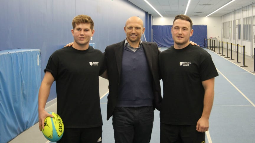Northumbria's BUCS Super Rugby players Louis Musetti and Laurence Lilley meet Matt Dawson.
