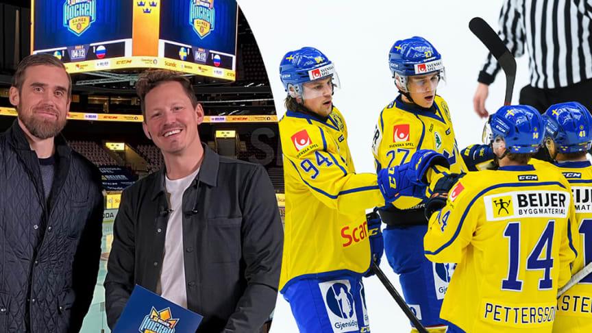 Henrik Zetterberg och Fredrik Warg i Beijer Hockey Studio under Beijer Hockey Games