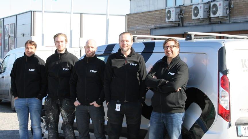 Några av de proffsiga badrumsmontörerna på K360 Nordic i Uppsala, vinnare av Våtrumskampen 2017.