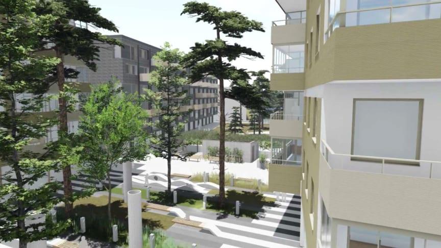 Visionsbild från kommande nybyggnation i kv Spårvagnshallarna.
