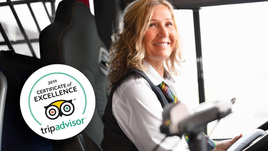 För andra året i rad får Flygbussarna TripAdvisors utmärkelse Certificate of Excellence.