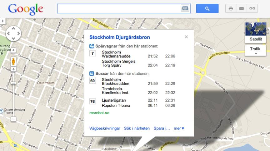 Google och Samtrafiken visar kollektivtrafiken i Google Maps