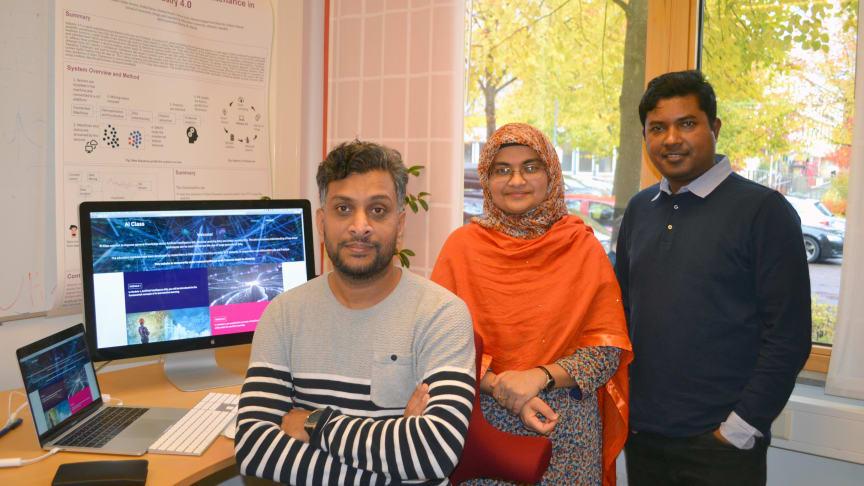 Från vänster: Mobyen Uddin Ahmed, Shahina Begum och Hamidur Rahman, forskare vid MDH som varit med och tagit fram AI-utbildningen AIClass.