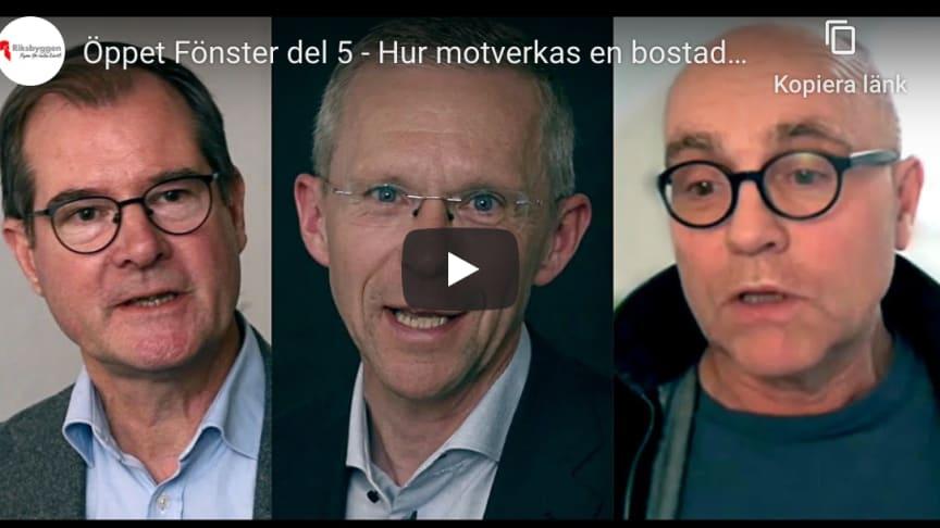 Fr v Mårten Lilja, vvd Riksbyggen, Håkan Andersson, presschef Riksbyggen och John Hassler, professor i nationalekonomi Stockholms universitet