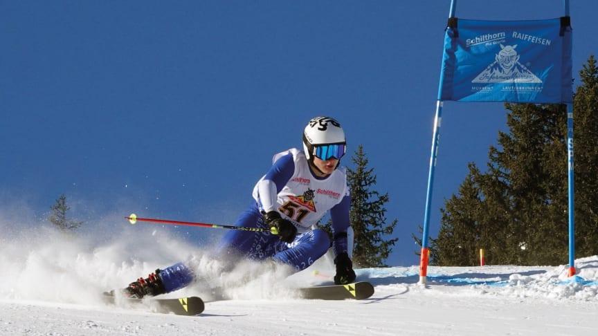 Skifahrer an der Inferno-Abfahrt in Aktion