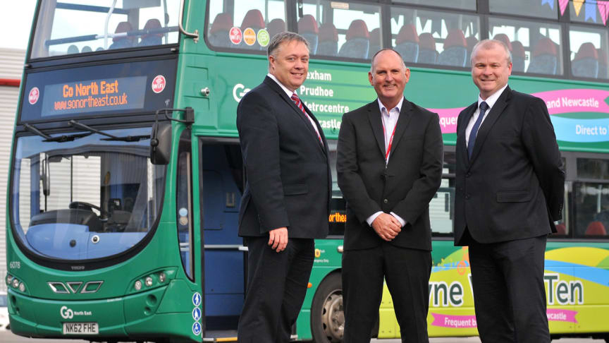 (L-R) Steve McCall from Jobcentre Plus, Go North East's Keith Robertson, and Ivan Jepson from Gateshead College