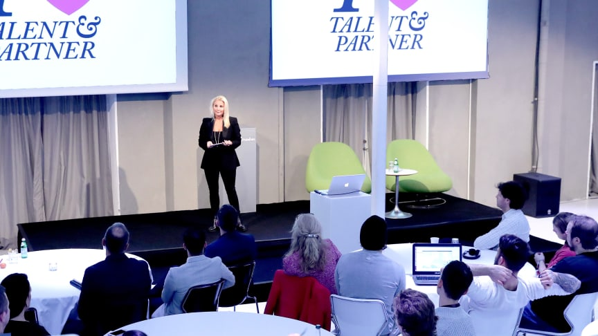 Sabine Andersdotter, VD på Talent&Partner, talade om hur de använder AI för mer träffsäkra rekryteringar.