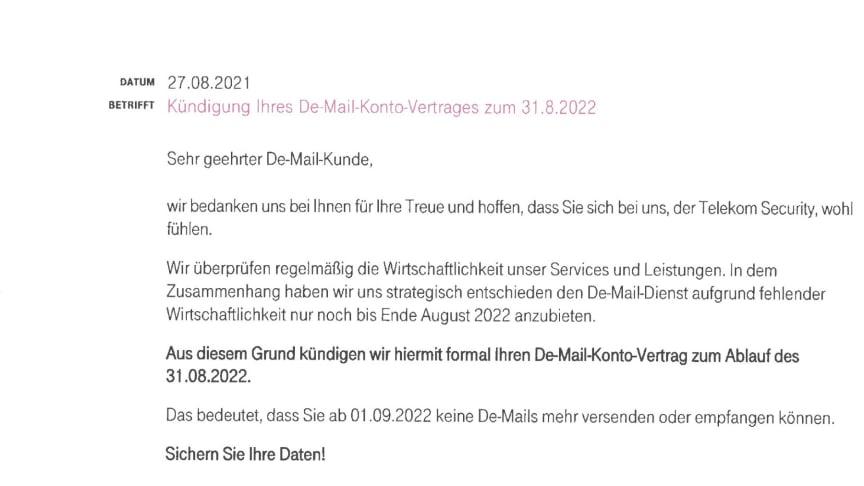 De-Mail Kündigungsschreiben der Telekom
