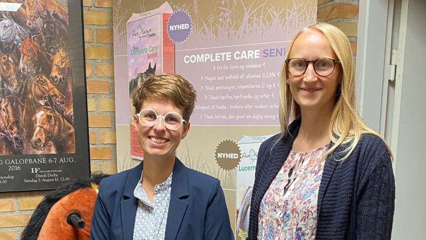 Nanna Larsen sammen med dyrlæge, ph.d. Frederikke Lindenberg, Brogaarden