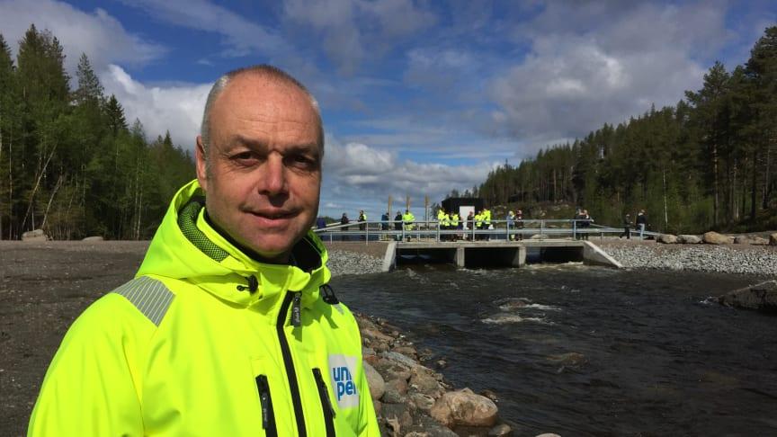 Johan Tielman, miljöchef på Uniper Hydropower, leder idag invigningen av den andra av tre fiskvägar i övre Faxälven.