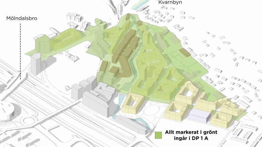 Det grönmarkerade området innefattar DP 1A