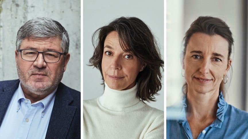 """""""Vi kommer IKKE til at trække allerede bevilgede midler tilbage,"""" siger direktør i Bikubenfonden Søren Kaare-Andersen, her med cheferne for hhv. kunst- og socialområdet, Mette Marcus og Sine Egede."""