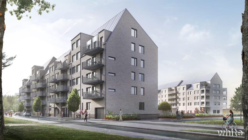 Visionsbild för ÖrebroBostäders nya bostadshus med tillhörande förskola i södra Ladugårdsängen i Örebro.