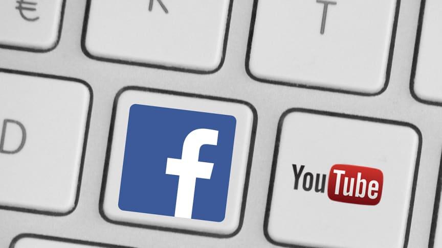 Tangentbord med Facebook och Youtubes logotyper. Illustration: Pixabay