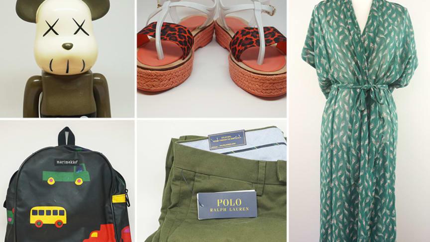 Bland de första auktionerna återfinns märken som Rodebjer, Polo Ralph Lauren, Gucci, samt handplockade leksaker och porslin från Royal Copenhagen.