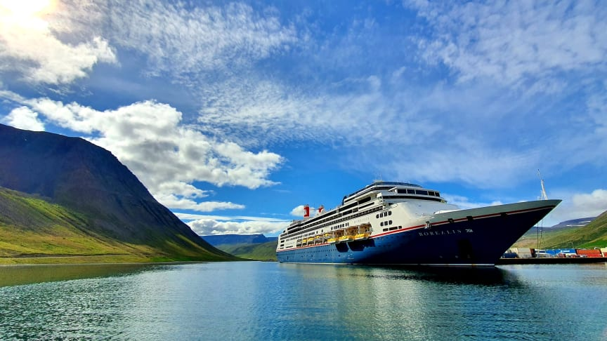 Fred. Olsen Cruise Lines' new ship Borealis, on first international sailing of 2021. Credit: Richard Lovelock