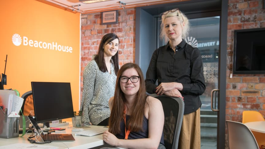 Rachel Dickinson with Sophie Flanagan (left) from BeaconHouse Events and Northumbria lecturer Sharon Wilson