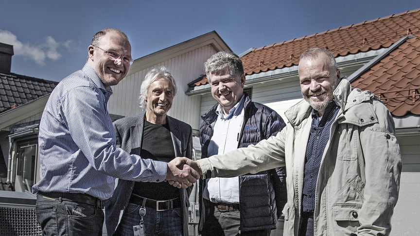 SATISFIED: (FROM LEFT) TOMMY LUNDEKVAM FROM TRAINOR WITH TERJE ØKLAND, THOMAS MALM AND BIRGER G. HOLT FROM EB KRAFTPRODUKSJON. PHOTO: TRAINOR AS