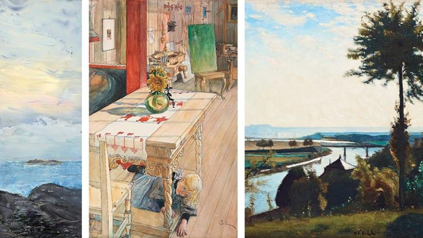 August Strindberg – I havsbandet, Carl Larsson – Kurragömma, Carl-Fredrik Hill – Trädet och flodkröken