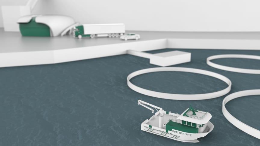 Pilot-E er et finansieringstilbud til norsk næringsliv, etablert av Forskningsrådet, Innovasjon Norge og Enova. Nå bidrar Pilot-E til å realisere en hydrogendrevet oppdrettsbåt. (Ill.: Moen Verft)